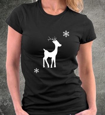 Снежинки над олененком